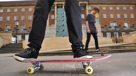 The city council wants to ban skateboarding in places such as the Memorial Gardens. Photo: Steve Ada