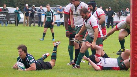 New South African scrum-half Jacques Olivier scoring on debut for North Walsham during their win aga