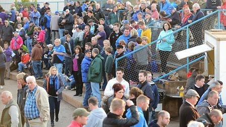 Speedway fans on turn one. Picture: Ian Burt