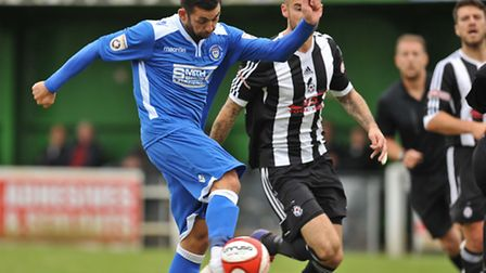 Erkan Okay of Lowestoft Town shoots wide of the target during The FA Cup qualifying second round mat