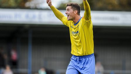 FA Cup action from King's Lynn Town v Hednesford at The Walks - Lynn's Ross Watson. Picture: Matthew