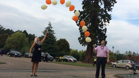 Former colleagues of Hannah Witheridge Diana Sims and Steve Maddams release balloons in memory of th