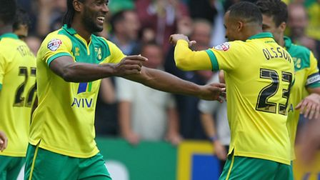 Cameron Jerome of Norwich scores his sides equalising goal and celebrates during the Sky Bet Champio