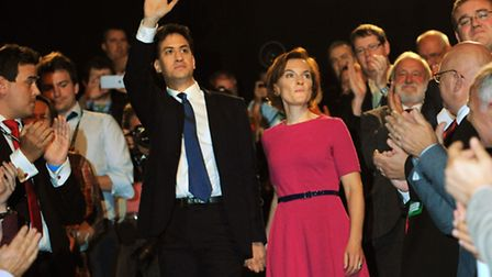 Labour leader Ed Miliband leaves with his wife Justine Thornton after making his keynote speech to d