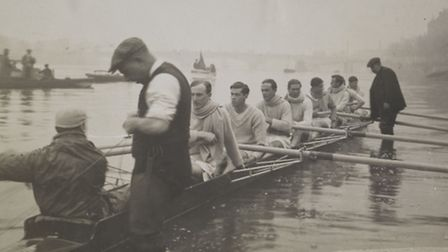 The 1914 Cambridge boat race crew by Christina Broom. L-R working backwards, starting with Cox at fr