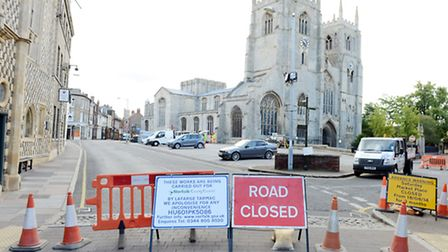 The roadworks on the Saturday Market Place in King's Lynn have started. Picture: Matthew Usher.