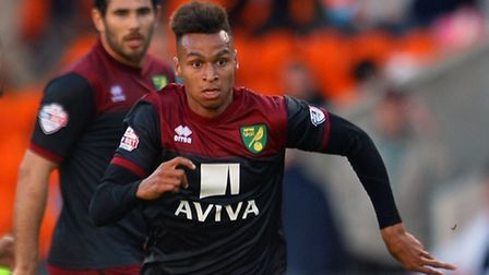 Josh Murphy of Norwich in action during the Sky Bet Championship match at Bloomfield Road, Blackpool