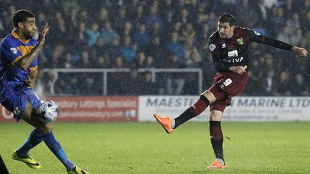 Kyle Lafferty of Norwich has a shot on goal during the Capital One Cup match at Greenhous Meadow, Sh