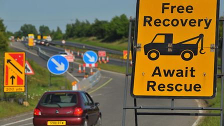 Traffic on the slip road and A47 at Postwick, where work is underway constructing the Postwick Hub J