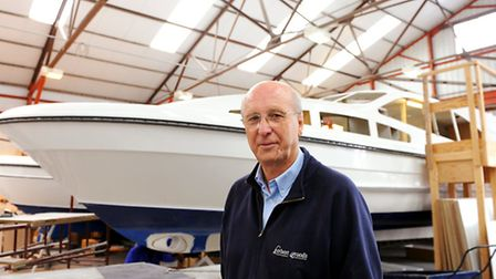 Herbert Woods boatyard in Potter Heigham building its new style cruiser called Dazzling Light.Partne