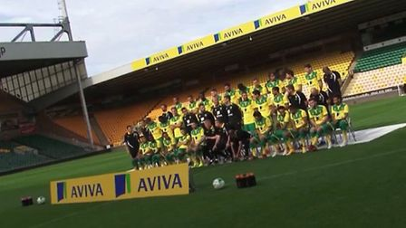 The Norwich City players line up for the team photo. Picture: Norwich City FC