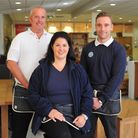 Catherine Kercher with Rob Homer-Ward and Lewis Allen at the reopened Cotswold Company in Norwich. P