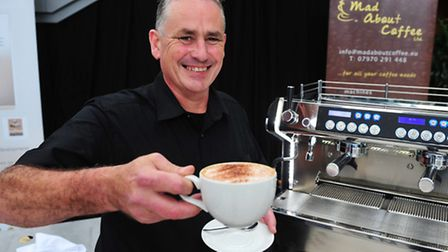 Cafe Culture at the Norwich Food and Drink Festival - Barista competition. Competitor Chris Parry.