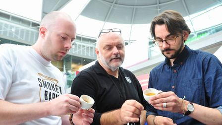 Cafe Culture at the Norwich Food and Drink Festival - Barista competition. Chris Queen,Dave Hart and