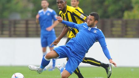 Conference North.Lowestoft Town v Harrogate Town at Crown Meadow.Erkan Okay.Picture: James Bass