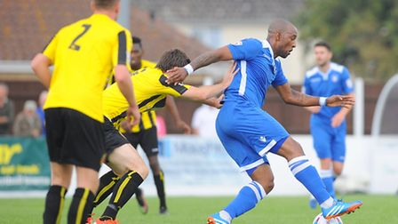Conference North.Lowestoft Town v Harrogate Town at Crown Meadow.Jefferson Louis.Picture: James Bass