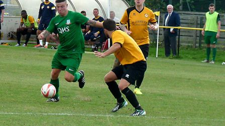 Ally McKenna about to fire in another winner for Gorleston.