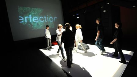 City Academy students taking part in the National Theatre connections festival at the Garage in Norw
