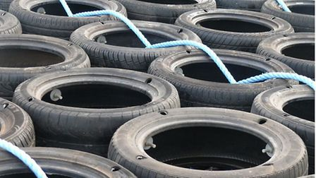 Tyres as scour protection. Pic by EON.