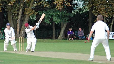 Ian Harrison on the attack for Downham in Sunday's NACO Cup final.