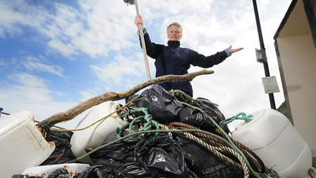 Sheringham beach clean. Organiser Hilary Nelson with just some of the rubbish collected.Picture: ANT