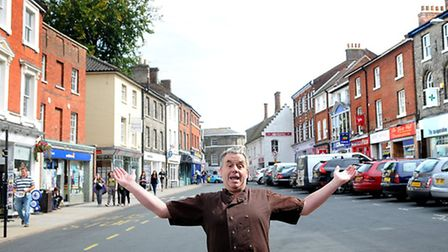 Rob Scammell from Cafe Kitale who is leading a campaign to revive North Walsham's trading fortunes.