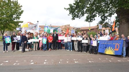 Protestors held a rally outside Carlton Court hospital to voice concerns over cuts to mental health