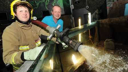 Firefighters have been helping to re-fill tanks at Hunstanton Sea Life Sanctuary. Picture: Jeremy D