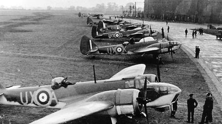 RAF Watton history. Pictured: 82 Squadron Blenheims Line Up at Watton.