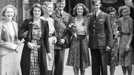RAF Watton history. Pictured: Pilot Officer Dunford-Wood, as married at Watton Register Office in Se