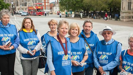 Lord Mayor Judith Lubbock joins the City Hosts in Norwich city centre. Photo: Bill Smith