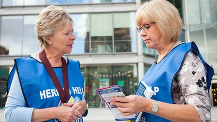 Lord Mayor Judith Lubbock gets some tips from City Host Susan Norman. Photo: Bill Smith