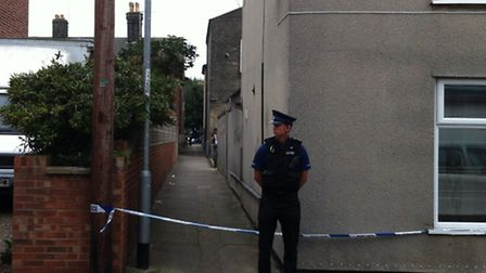 An officer stands guard at the bottom of the alleyway between Albion Road and Crown Road