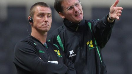 Birmingham boss Lee Clark during his Norwich City days with former boss Glenn Roeder. Picture: PA