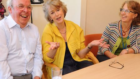 Actress Maureen Lipman chats with the Myeloma group at the Big C Centre at the Norfolk and Norwich U