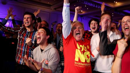 No supporters react to results in the Scottish independence referendum at The Marriott Hotel in Glas