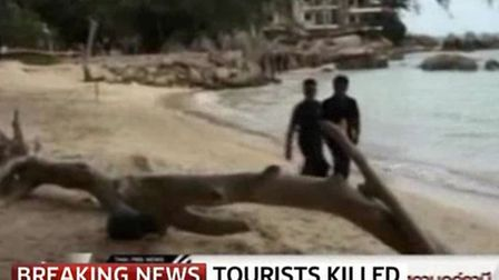 Sky News story about two British tourists have been found dead on a beach on the island of Koh Tao i