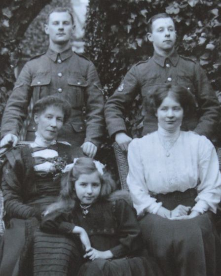 Harrold Brawn (top left) and brother John with their sisters and mother.