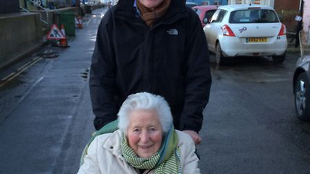 MP Norman Lamb with his late mother Moira Lamb who used the Holt Area Caring Society.