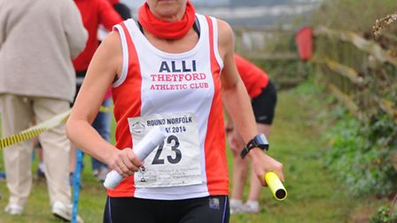 The Round Norfolk Relay at Cromer. Allison West from Thetford Athletic Club.Picture: ANTONY KELLY