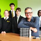 TV star and children's author Charlie Higson meets youngsters at Langley school.