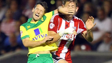 Norwich City midfielder Wes Hoolahan suffered an ankle injury in the 3-0 Championship win over Brent