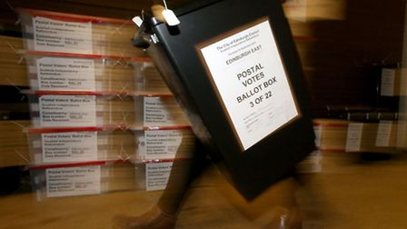 Ballot boxes with some of the first Scottish Referendum postal votes at the MacRobert Pavilion at th