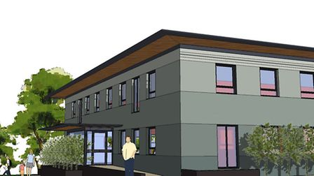 Thetford Magistrates' Court is being converted into flats. An artist's impression.