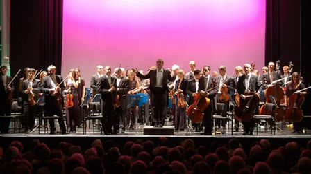 The Royal Philharmonic Orchestra on stage previously at Lowestoft's Marina Theatre.