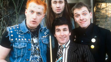 The Young Ones (left to right) Vyvyan played by Adrian Edmondson, Neil played by Nigel Planer, Mike