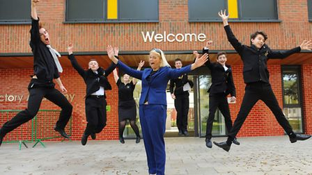 Ormiston Victory Academy principal, Naomi Palmer, centre, celebrates the official opening of the sch