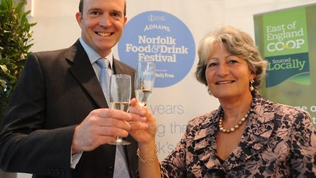 The EDP Norfolk Food and Drink awards at the Norfolk Showground. Richard Woolliams, left, and Sarah