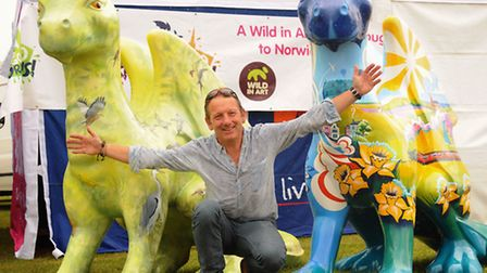 Break's GoGoDragons!, Birdie, left, and Cavell, are unveiled at the Royal Norfolk Show. With them is