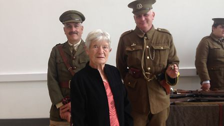 Eileen Doughty with Paul Stonebridge and Dave Brown from the Living History Group. North Walsham Cen